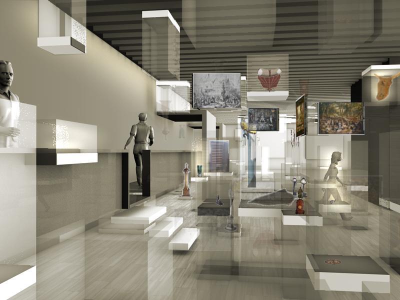 Perspektivische Visualisierung des Neubau-Ensembles historisches museum frankfurt von Westen (LRO-Architekten, Stuttgart)